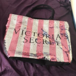 Large pink silver Sequined Victoria Secret tote